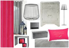 Inspirations chambre gris & fushia www.at-ome.fr/deco