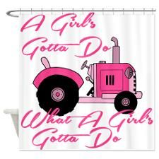 Pink Tractor Shower Curtain. Perfect in their bathroom!