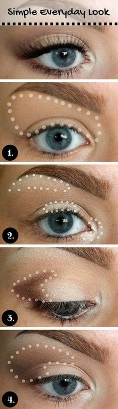 Great example of step by step application areas in dotted lines Simple Every Day Look Tutorial for Blue Eyes