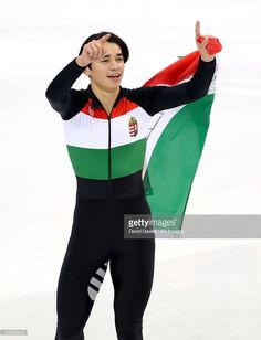 Hungary's Shaolin Sandor Liu celebrates after winning the Men's Short Track Speed Skating 5,000m Relay Final A at the Gangneung Ice Arena during day thirteen of the PyeongChang 2018 Winter Olympic Games in South Korea.