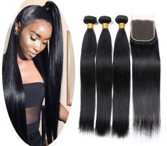 Human Hair Weaves Human Hair 4 Bundles Weaves With Closure Peruvian Body Wave Hair Bundles With Lace Closure Non Remy Royal Hair Weave Professional Design Hair Extensions & Wigs