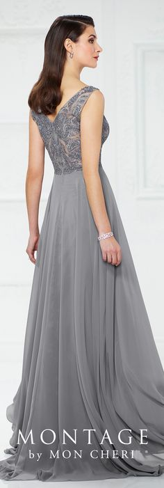 Formal Evening Gowns by Mon Cheri - Fall 2017 - Style No. 217935 - gray sleeveless chiffon evening dress with hand-beaded illusion bodice