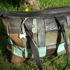 Unusual Radley large leather tote bag.   Patchwork woven leather in browns and blue/green leather