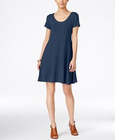 Style & Co Petite Short-Sleeve A-Line Dress, Only at Macy's | macys.com