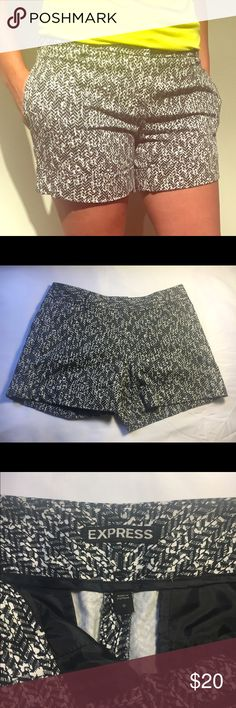 Express 3 1/2 shorts with cuff,black/white Comfy shorts you can dress up or dress down. Black and white pattern is versatile! Express Shorts