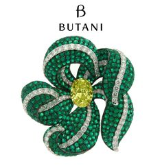 The enchanting secret garden of Butani finds a rare flower with Emerald green and diamond petals cradle up to a 10 carat Fancy Intense Yellow Diamond