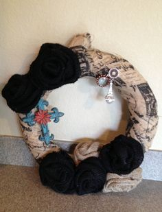Black and Tan Roses with Paris Theme burlap