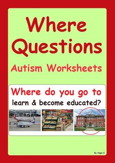 Where Questions (with community buildings)- Autism Worksheets #autism For more resources follow https://www.pinterest.com/angelajuvic/autism-special-education-resources-angie-s-tpt-sto/