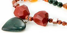 Bloodstone, Goldstone, Agate and Carnelian Necklace from semiprecious.com