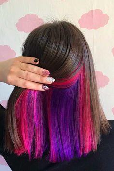 Under Hair Color, Hidden Hair Color, Hair Color Underneath, Cool Hair Color, Hair Color Streaks, Hair Dye Colors, Hair Highlights, Pink Peekaboo Hair, Exotic Hair Color