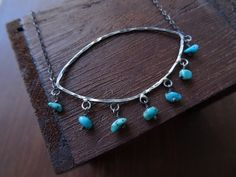 Sterling Silver Turquoise Necklace  Hammered by JooniJewelry