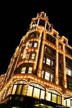 Harrods Illuminated in winters night, London