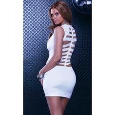 Skeleton Cutout Mini Dress #883740-XS Tank mini dress with skeleton laser cutout on backside. 95% Polyester 5% Spandex. Dresses Mini