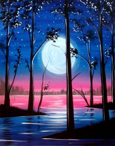 Moon over the river painting with trees showing depth. 7 West Bistro 10/23/2017 | Paint Nite Event
