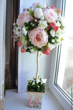 Купить Топиарий,дерево счастья,интерьерное украшение. - бледно-розовый, подарок, подарок на любой случай