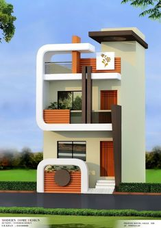 The exterior is the face of the house that everyone will see in the first part. Take a look at the world's most beautiful modern homes and find Flat House Design, House Main Gates Design, Narrow House Designs, Bungalow House Design, House Front Design, Cool House Designs, Modern House Design, Small House Exteriors, Dream House Exterior