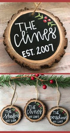 Personalized Christmas ornaments!  Great present for a Christmas wedding gift or housewarming gift.  Wooden Ornament, Custom Christmas Ornament, Family Name Ornament, Rustic Ornament, Wood Slice Ornament, Christmas Tree Ornament #ad