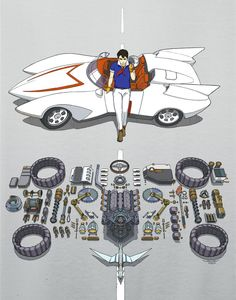 Sea Dragon Brothers: Tatsunoko Pro Tribute Exhibition – Q Pop Shop Speed Racer Cartoon, Akira Poster, Geeks, Old School Cartoons, Classic Cartoons, Amazing Cars, Concept Cars, Cars And Motorcycles, Cool Cars