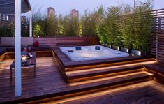Four Person Hot Tub with Tropical Patio and Hot Tub Indoor Outdoor Jacuzzi Landscape Outdoor Lighting Roof Deck Roof Terrace Roof Terrace Lighting Roof Terrace Tropical Jacuzzi Outdoor, Outdoor Spa, Outdoor Lighting, Indoor Outdoor, Indoor Pools, Deck Jacuzzi Ideas, Lighting Ideas, Pergola Lighting, Rooftop Design