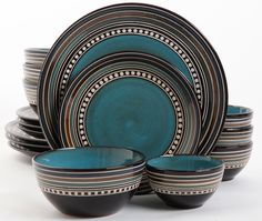 Find your Gibson Elite Cafe Versailles Blue Dinnerware Set at Plum Street Pottery. The set includes an extra all purpose bowl for smaller portions. Dinnerware Sets Walmart, Dinnerware Sets For 12, Stoneware Dinnerware Sets, Square Dinnerware Set, Casual Dinnerware, Tableware, Dinnerware Ideas, Modern Dinnerware, Kitchenware