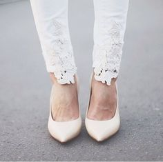 add some lace or doily material to some white skinny jeans - so cute!
