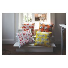TOPSY Yellow patterned cushion 45 x Home Interior Accessories, Patterned Armchair, Elephant Pattern, Yellow Pattern, Sweet Home, Cushions, Throw Pillows, Bed, Room