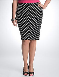 Dramatic chevron stripes add fashion flair to our best-loved ponte pencil skirt. Always flattering with the perfect length and curve-hugging silhouette, our pencil skirt is always the right choice for work or evenings out. Soft and stretchy ponte knit resists wrinkles, pilling and fading - plus it's machine washable for easy care. Hidden zipper closure, elastic waistband, and a vented back complete the look. lanebryant.com