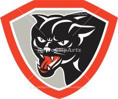 animal, artwork, black, black cat, cat, crest, feline, front, graphics, head, illustration, isolated, jaguar, panther, retro, shield, white ...