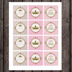 princess cupcake toppers princess party supplies pink and Crown Cupcake Toppers, Princess Cupcake Toppers, Princess Cupcakes, Royal Cupcakes, Gold Cupcakes, First Birthday Parties, First Birthdays, Baby Wedding Outfit, Princess Party Supplies
