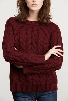 Kendra Cable-Knit Sweater (Burgundy) – Sweaters / Jackets – Amour Vert