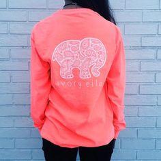 Elephant Print Scoop Long Sleeves Casual T-shirt
