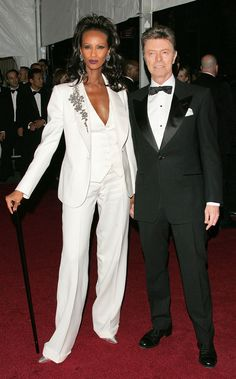 Fashion Icons from David Bowie: A Life in Pictures  The fashion world could always count on Iman and David to raise the bar when it came to best dressed couples on the red carpet. In 2007, they hit the Met Gala together in matching suits.