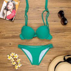 Sexy Solid Swimwear Women Brazilian Bikini Set 2017 Push Up Swimwear S/M/L Padded Swimsuit Femmes Maillot De Bain Bathing Suit