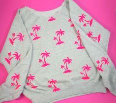 Pink Palm Trees 80's style Sweatshirt Jumper by OldhausVintage on Etsy https://www.etsy.com/uk/listing/505957295/pink-palm-trees-80s-style-sweatshirt