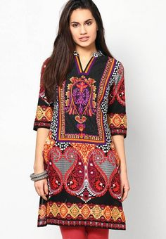 3/4Th Sleeve Multi Embroidered Kurti by Kurti'S - jabongworld.com