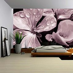 Large Wall Mural Lane of Pink Fallen Leaves with Trees by Each Side Vinyl Wallpaper Removable Wall Decor - Wall Murals