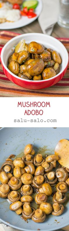 In this mushroom adobo recipe, the mushrooms were first stir-fried with garlic and then simmered in a tangy mixture of soy sauce, vinegar and bay leaf