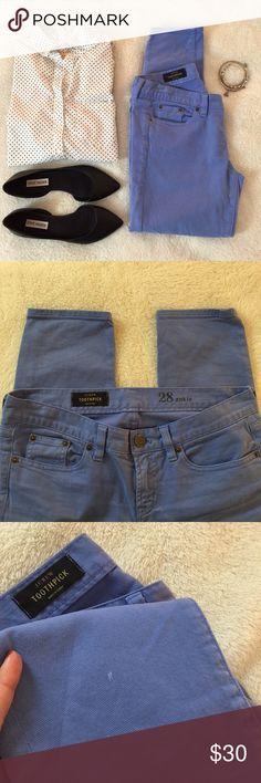 """J. Crew Toothpick Skinny Jeans J. Crew """"Toothpick"""" skinny jeans. Beautiful sky blue color. Very slight imperfection on bottom of right leg. Otherwise, great condition. Smoke-free, pet-free home. J. Crew Jeans Skinny"""