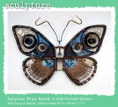 Huge Butterfly Sculpture from found objects saved from landfill