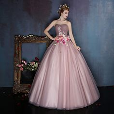Dress+Ball+Gown+Sweetheart+Floor-length+Satin+/+Tulle+with+Beading+/+Flower(s)+–+USD+$+169.99