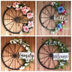 This item is unavailable Wagon Wheel Farmhouse Hello Spring Floral Wreath, Modern Farmhouse, Hand Painted Wood Sign, Metal Wr Diy Wreath, Door Wreaths, Yarn Wreaths, Tulle Wreath, Floral Wreaths, Burlap Wreaths, Wagon Wheel Decor, Wagon Wheel Garden, Painted Wood Signs