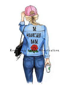 Be yourself art , Girly art print, Fashion Illustration,Motivation wall art, Inspirational poster/afflink Fashion Prints, Fashion Art, Trendy Fashion, Fashion Women, Fashion Outfits, Illustration Mode, Illustration Fashion, Fashion Illustrations, Illustration Artists