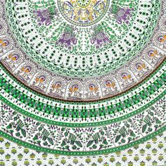 Handmade Elephant Mandala Tapestry 100% Cotton Dorm Tablecloth Bedspread Throw Beach Sheet Green
