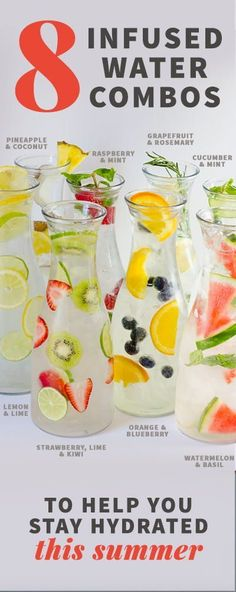 8 Infused Water Combos to Keep You Hydrated this summer- these 8 easy infused water recipes are perfect to keep you happy and healthy this summer! water 8 Infused Water Combos to Keep You Hydrated Detox Diet Drinks, Smoothie Detox, Cleanse Diet, Diet Detox, Stomach Cleanse, Juice Cleanse, Detox Juices, Healthy Detox, Healthy Drinks