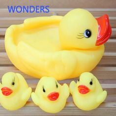 Cute Baby Girl Boy Bath Bathing Classic Toys Rubber Race Squeaky Ducks Set Yellow New Baby Toys