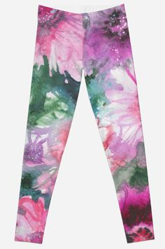 'watercolor flowers' Leggings by EkaterinaP Green Watercolor, Watercolor Flowers, Watercolour, Gothic Leggings, Pink And Green, Room Decor, Trends, Trending Outfits, Spring