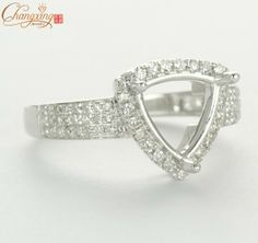 Solid 14k White Gold 11.5x11.5mm Trillion NATURAL Diamond Engagement Semi-Mount ring $593.12