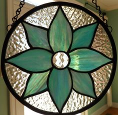 Stained Glass Flower, round panel, suncatcher, faceted gem