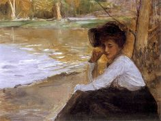 Lady in a Park, 1899 by Teodor Axentowicz (Polish)
