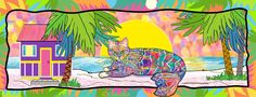 Claudia's Cats Collection features colorful cat art and cat themed gifts by California artist Claudia Sanchez. Cat Themed Gifts, Cat Colors, Cat Art, Original Artwork, Kitty, Cats, Artist, Animals, Image